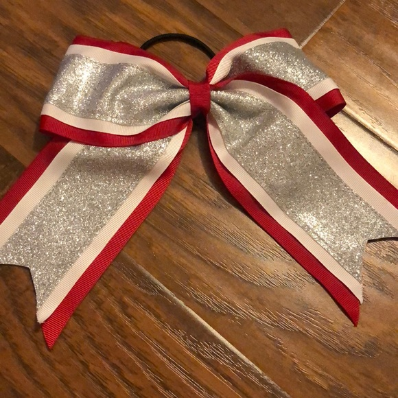 Claire's Accessories - Red glittery cheerleading bow